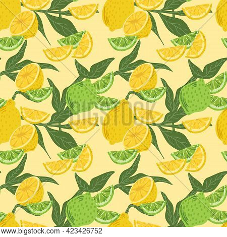 Vector Background Of Citrus Fruits With Leaves. Juicy Lemon With Lime For Summer Textiles. Beautiful