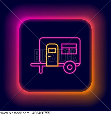 Glowing Neon Line Rv Camping Trailer Icon Isolated On Black Background. Travel Mobile Home, Caravan,