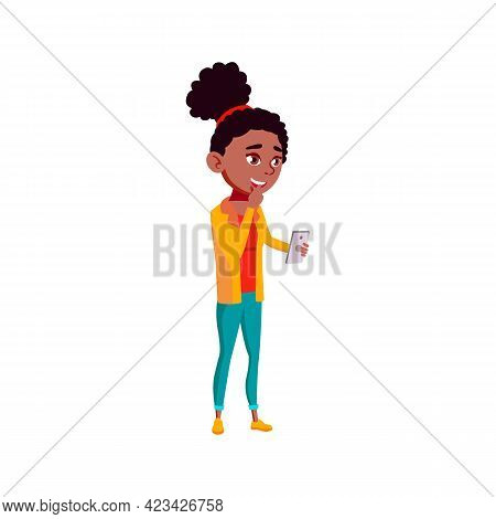 African Girl Laughing From Sms Message On Phone Screen Cartoon Vector. African Girl Laughing From Sm
