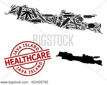 Vector Addiction Collage Map Of Java Island. Rubber Healthcare Round Red Rubber Imitation. Template