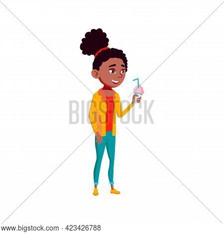 Smiling Girl Enjoying Ice Cream Milk Cocktail In Park Cartoon Vector. Smiling Girl Enjoying Ice Crea