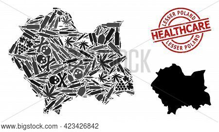 Vector Addiction Collage Map Of Lesser Poland Province. Rubber Health Care Round Red Rubber Imitatio