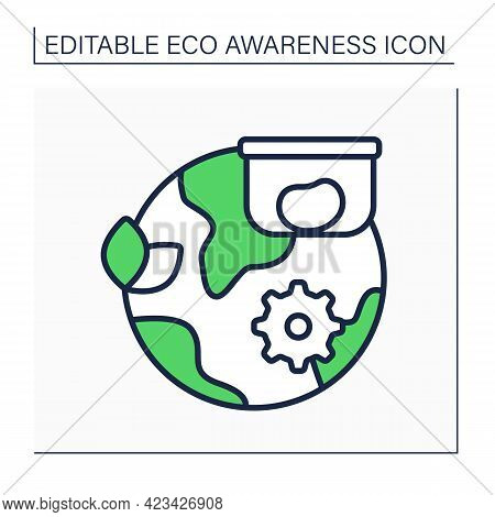 Ecology Line Icon. Containers Using, Not Paper Bags. Reusable Tableware. Environment Protection. Eco