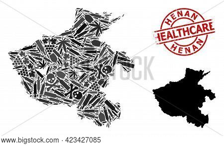 Vector Narcotic Composition Map Of Henan Province. Scratched Healthcare Round Red Badge. Template Fo