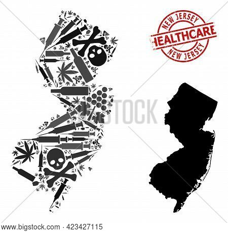 Vector Narcotic Composition Map Of New Jersey State. Scratched Healthcare Round Red Imprint. Concept