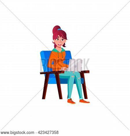European Girl Sitting On Armchair And Watches Videos On Notebook Cartoon Vector. European Girl Sitti