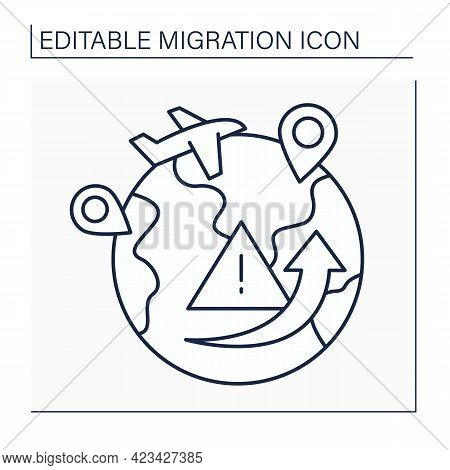 Migration Crisis Line Icon. Humanitarian Catastrophe Caused By Massive Influx Of Migrants. Migration