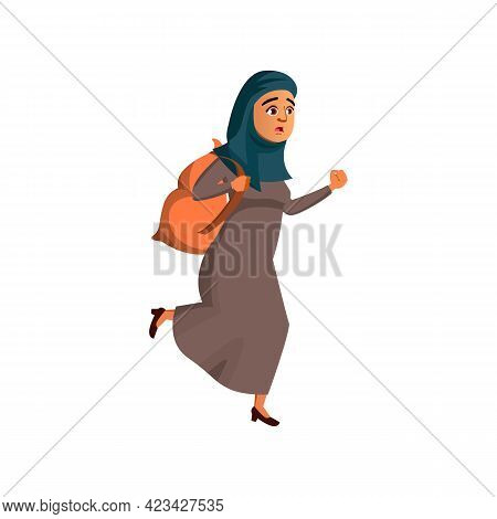 Islamic Lady With Rucksack Late On Train Cartoon Vector. Islamic Lady With Rucksack Late On Train Ch