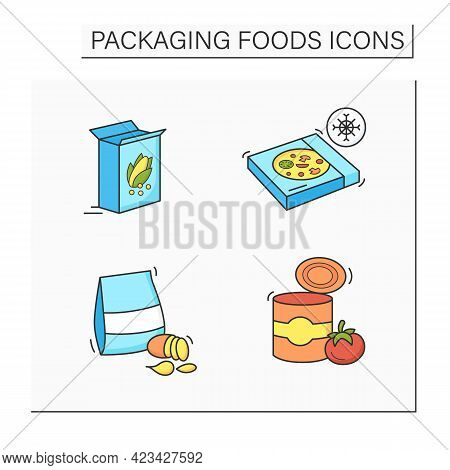 Packing Foods Color Icons Set. Breakfast Cereals, Frozen Pizza, Potatoes Chips, Tomato Soup. Protect