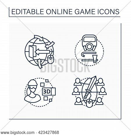 Online Game Line Icons Set. Different Game Types. Open World Gaming, Survival, 3d Gameplay, Massive