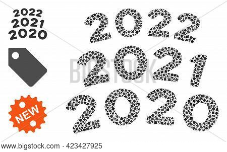 Collage 2020 - 2021 Arc Texts Icon United From Bumpy Spots In Different Sizes, Positions And Proport