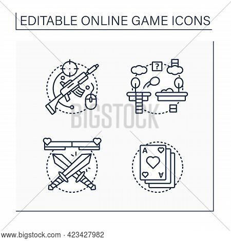 Online Game Line Icons Set. Different Game Types. Shooting, Platform, Fighting, Card Games. Modern T