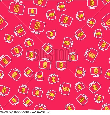 Line Cryptocurrency Coin Bitcoin Icon Isolated Seamless Pattern On Red Background. Physical Bit Coin