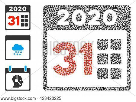 Mosaic 2020 Last Day Icon Organized From Abrupt Parts In Different Sizes, Positions And Proportions.
