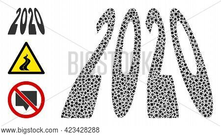 Collage 2020 Perspective Digits Icon Organized From Tuberous Pieces In Random Sizes, Positions And P
