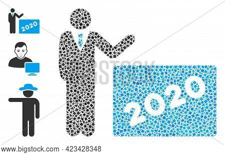 Collage 2020 Showing Man Icon Organized From Raggy Spots In Random Sizes, Positions And Proportions.