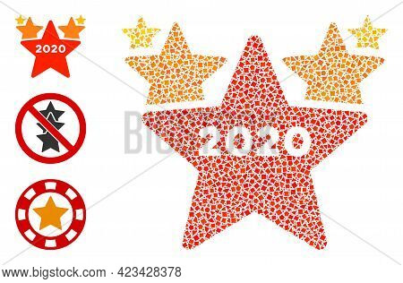 Collage 2020 Stars Hit Parade Icon Composed Of Rugged Elements In Various Sizes, Positions And Propo