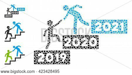 Mosaic 2021 Buisiness Training Stairs Icon Composed Of Raggy Spots In Random Sizes, Positions And Pr