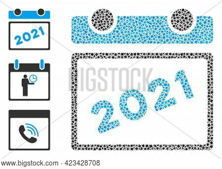 Collage 2021 Calendar Leaf Icon Organized From Tuberous Pieces In Variable Sizes, Positions And Prop