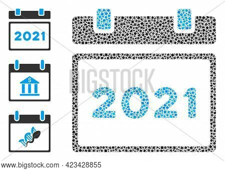 Collage 2021 Calendar Icon Composed Of Rough Elements In Different Sizes, Positions And Proportions.