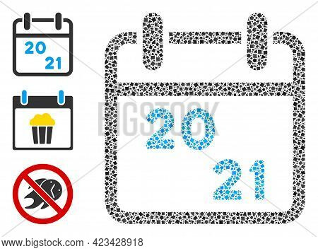 Mosaic 2021 Calendar Icon Organized From Unequal Parts In Different Sizes, Positions And Proportions