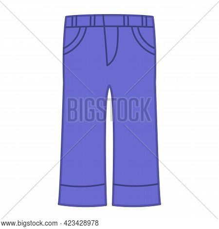Jeans With Blue Denim Pockets. Summer Clothes For Children. Vector Illustration Of Clothes Pants, Is