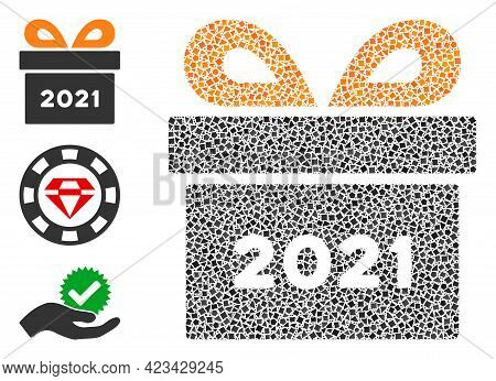 Mosaic 2021 Gift Icon United From Inequal Elements In Different Sizes, Positions And Proportions. Ve