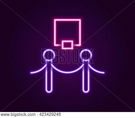 Glowing Neon Line Picture Frame And Rope Barrier Icon Isolated On Black Background. Exhibit Protecti