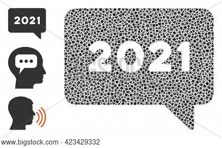 Mosaic 2021 Message Icon Composed Of Rough Pieces In Variable Sizes, Positions And Proportions. Vect