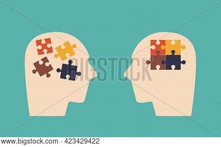 Two Human Heads Expressing Mental And Psychological Health. Puzzle Pieces As Symbol Of Thoughts In H