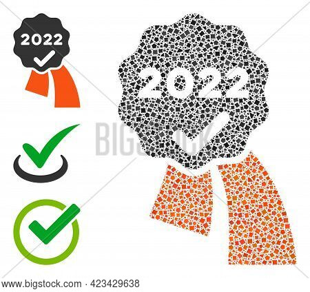 Mosaic 2022 Approve Award Icon Designed From Raggy Items In Different Sizes, Positions And Proportio