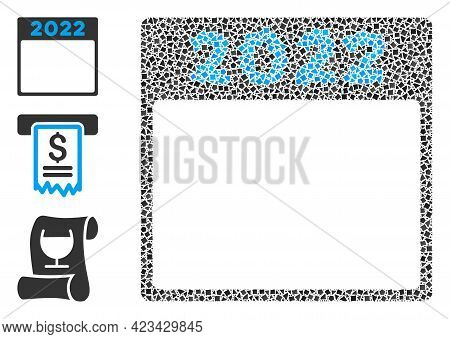 Collage 2022 Calendar Page Icon Organized From Abrupt Spots In Different Sizes, Positions And Propor