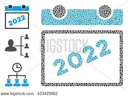 Mosaic 2022 Calendar Icon Organized From Joggly Pieces In Different Sizes, Positions And Proportions