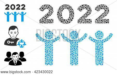 Mosaic 2022 Dancing People Icon Designed From Inequal Items In Various Sizes, Positions And Proporti