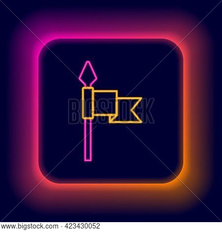 Glowing Neon Line Medieval Spear Icon Isolated On Black Background. Medieval Weapon. Colorful Outlin