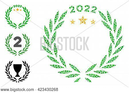 Mosaic 2022 Laurel Wreath Icon Organized From Uneven Items In Variable Sizes, Positions And Proporti