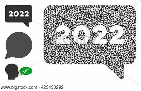 Collage 2022 Message Icon Composed Of Ragged Elements In Random Sizes, Positions And Proportions. Ve