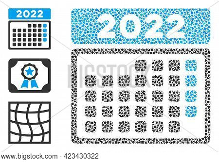 Mosaic 2022 Month Calendar Icon Organized From Abrupt Elements In Various Sizes, Positions And Propo