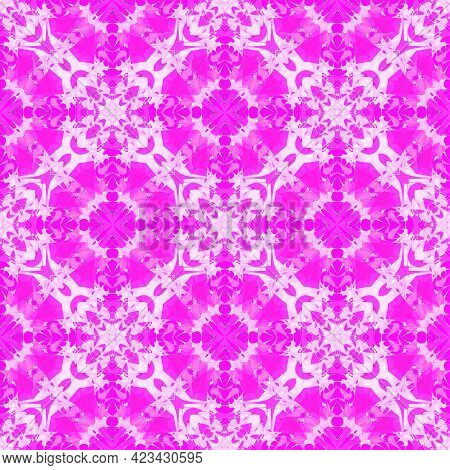 Fantasy  Seamless Pattern With  Print Of Ethnic Colorful Abstract Flower. Vivid Pink Artistic Vector