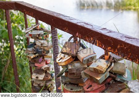 Lovers' Locks Hang On The Bridge Close Up