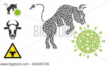 Mosaic Bull Attacks Coronavirus Icon United From Raggy Pieces In Variable Sizes, Positions And Propo