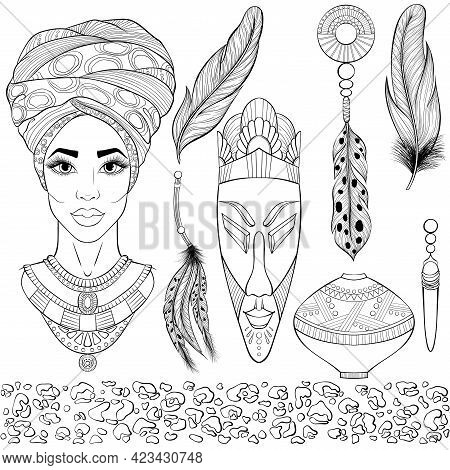 African Ethnic Beauty. Set With Portrait Of The Beautiful Black Woman In Turbans, Wooden Mask, Jewel