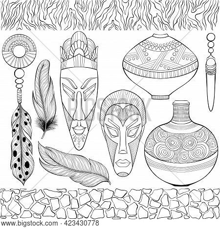 Set Of Various African Ethnic Objects. Jewelry, Vases, Wooden Masks, Zebra And Giraffe Skin Border.