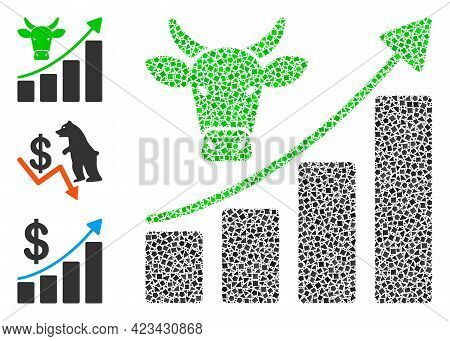 Mosaic Bullish Market Trend Icon Constructed From Humpy Pieces In Different Sizes, Positions And Pro