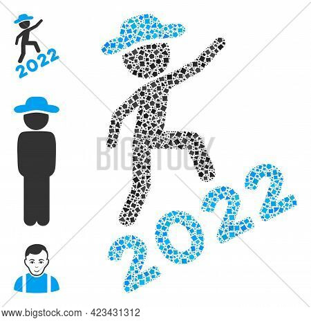 Mosaic Gentleman Climbing 2022 Icon United From Raggy Spots In Random Sizes, Positions And Proportio