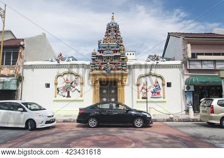 Penang, Malaysia.  August 20, 2017. The Oldest Hindu Temple, Sri Mahamariamman Temple, In The George