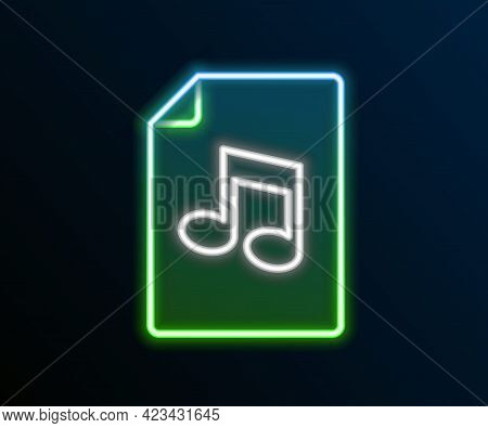 Glowing Neon Line Music Book With Note Icon Isolated On Black Background. Music Sheet With Note Stav