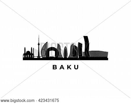 Vector Baku Skyline. Travel Baku Famous Landmarks. Business And Tourism Concept For Presentation, Ba