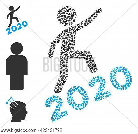 Mosaic Man Climbing 2020 Icon Constructed From Uneven Spots In Variable Sizes, Positions And Proport