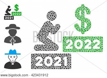 Mosaic Man Pray Dollar 2022 Icon Composed Of Rough Elements In Variable Sizes, Positions And Proport